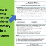 How to write attention grabbing Summary in a Resume